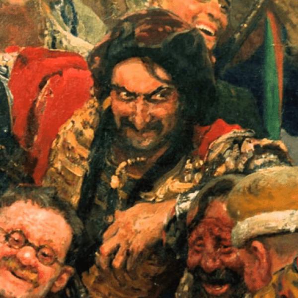 Фрагмент картины Запорожцы пишут письмо турецкому султану